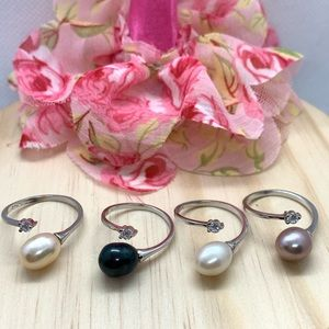 Natural Freshwater Pearl S925 CZ Adjustable Ring